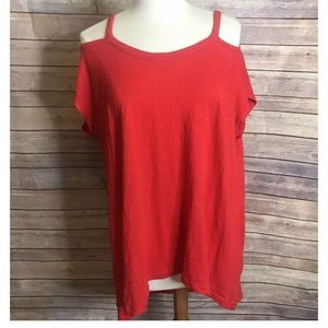 Left of center red off shoulder tunic top